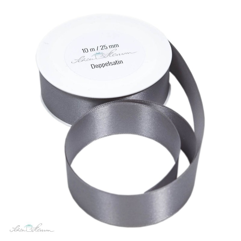 Geschenkband Satin / silbergrau / 2.5 cm breit / 10 m
