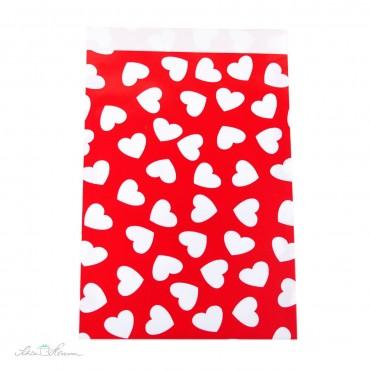 Papiertüte Herzen / rot, weiß / 10 Stück / 17 x 25 cm