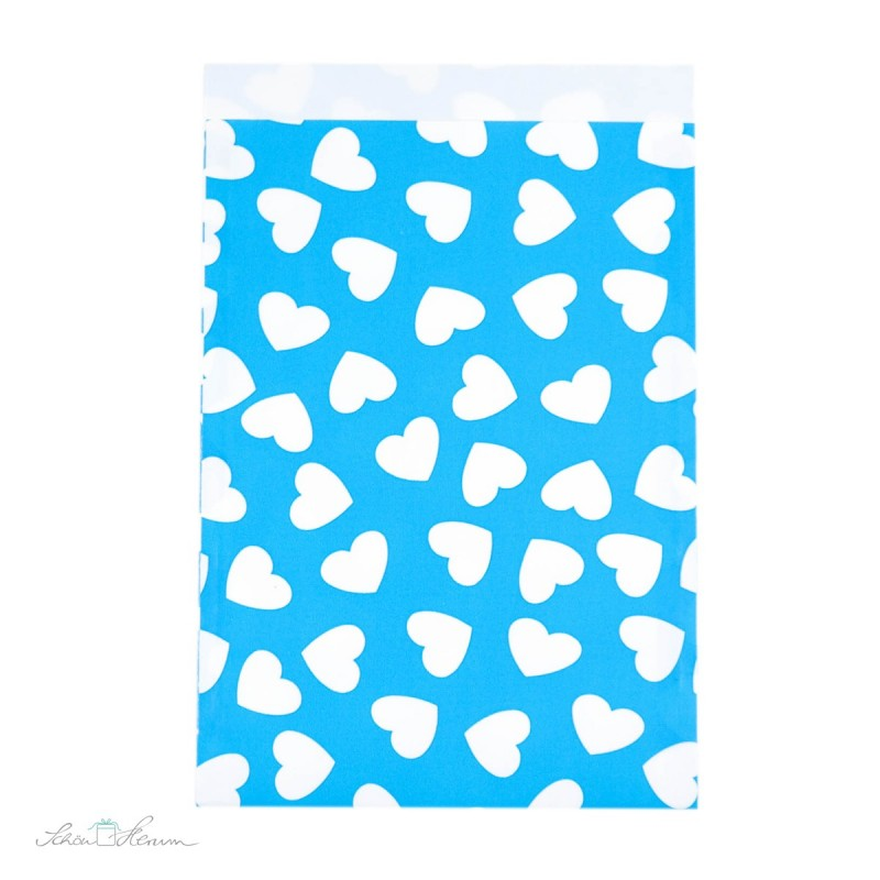 Papiertüte Herzen / blau, weiß / 10 Stück / 17 x 25 cm