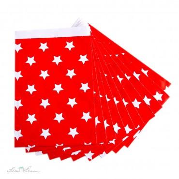 Papiertüte Sterne / rot, weiß / 10 Stück / 17 x 25 cm