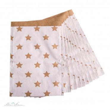 Papiertüte Sterne / kraftbraun, weiß / 10 Stück / 17 x 25 cm