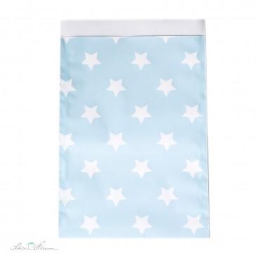 Papiertüte Sterne / hellblau, weiß / 10 Stück / 17 x 25 cm