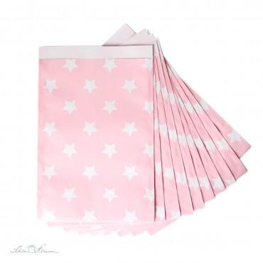 Papiertüte Sterne / rosa, weiß / 10 Stück / 17 x 25 cm