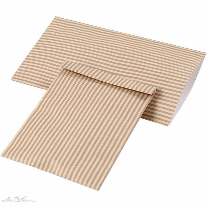 Papiertüten mit Streifen, Natur & braun, 12 Stück