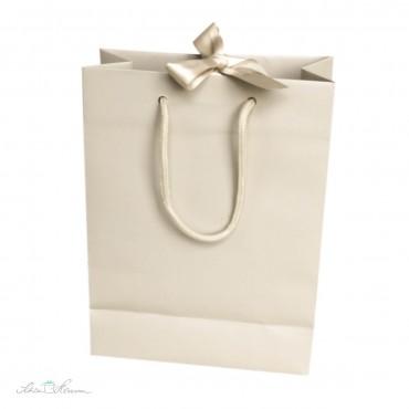 Edle Papiertasche mit Schleife / Creme
