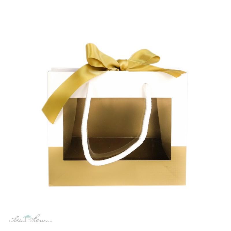 Fenstertasche mit Henkel und Schleife, gold