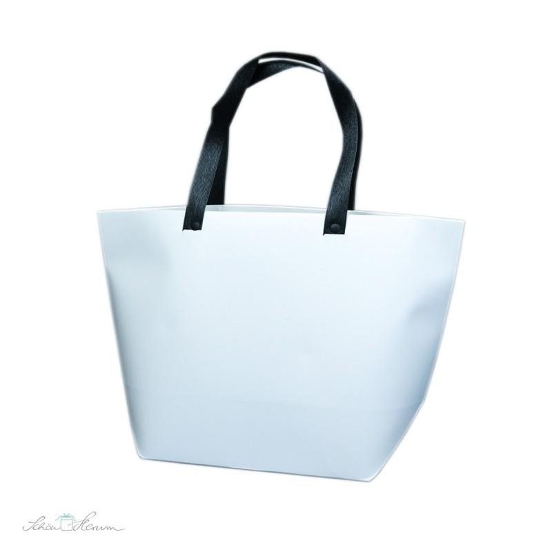 Handtasche, Geschenktasche aus Papier, schwarze Henkel