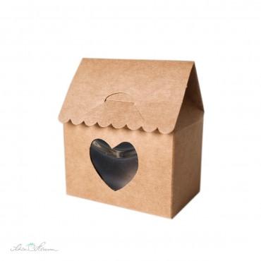 Schachtel aus Kraftkarton, Haus mit Herz, braun