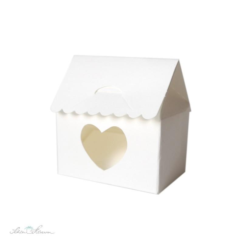 Schachtel aus Kraftkarton, Haus mit Herz, weiß