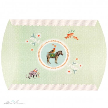 Kissenschachtel mit Tiermotiven / 27 x 39 x 4 cm