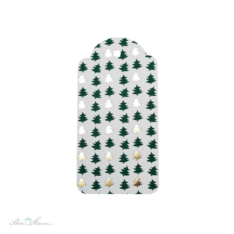 6 x Geschenkanhänger, Letterpress, Bäume, grün-gold
