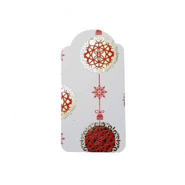 6 x Geschenkanhänger, Letterpress, Weihnachtskugel, rot-gold