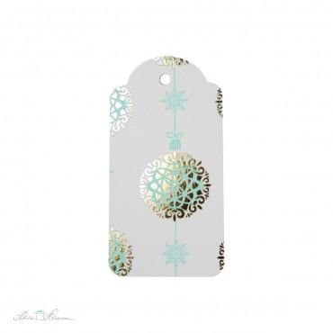 6 x Geschenkanhänger, Letterpress, Weihnachtskugel, mint-gold
