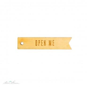 """10 x Geschenkanhänger aus Holz, """"Open Me"""""""