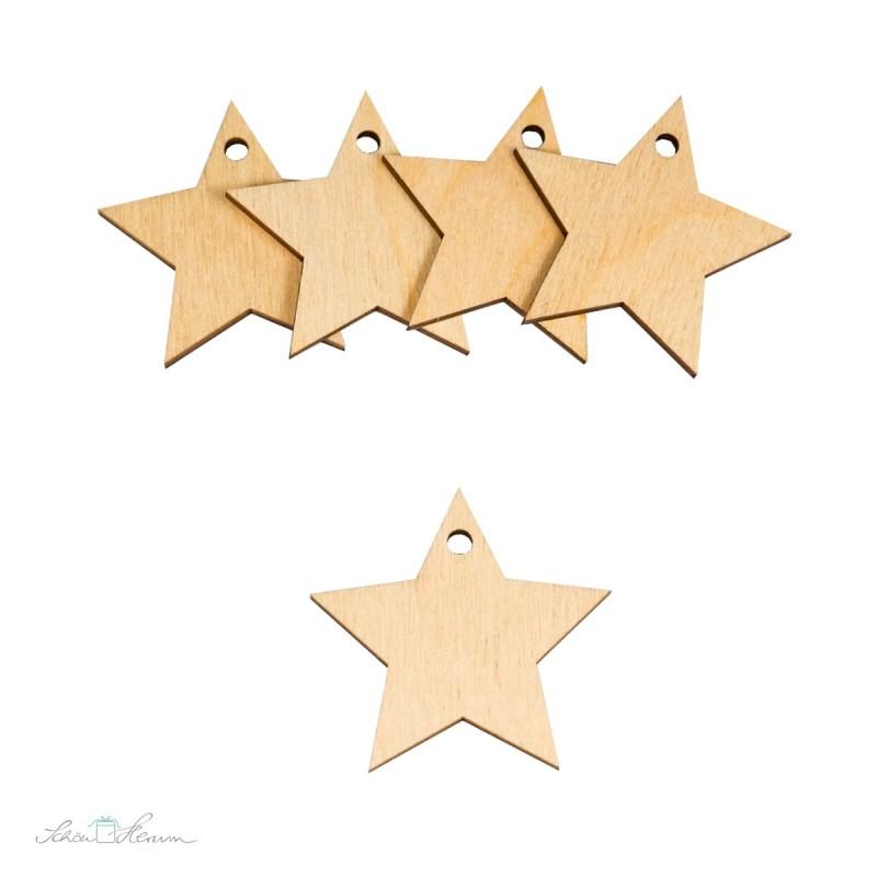 5 x Stern-Geschenkanhänger aus Holz
