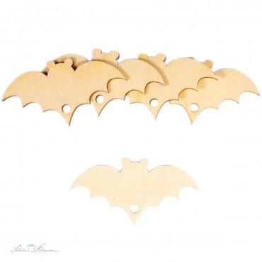 5 x Fledermaus Geschenkanhänger aus Holz