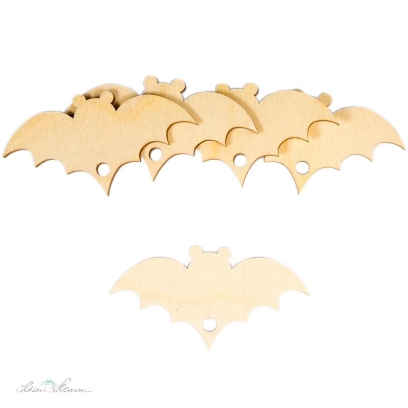 5 x Fledermaus-Geschenkanhänger aus Holz