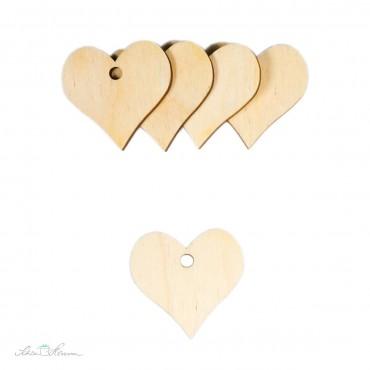 5 x Herz Geschenkanhänger aus Holz