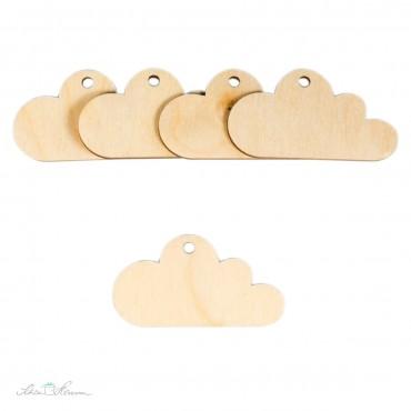 5 x Wolke-Geschenkanhänger aus Holz