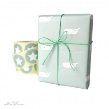 Geschenkpapier, mintgrün, Walfische