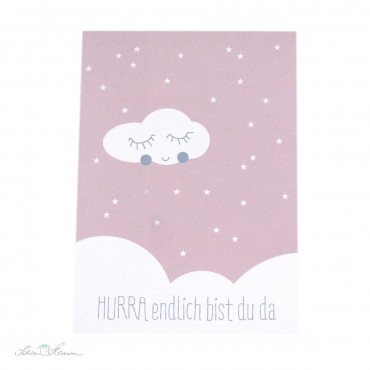 """Postkarte """"Hurra, endlich bist du da"""", Geburt, rosa"""