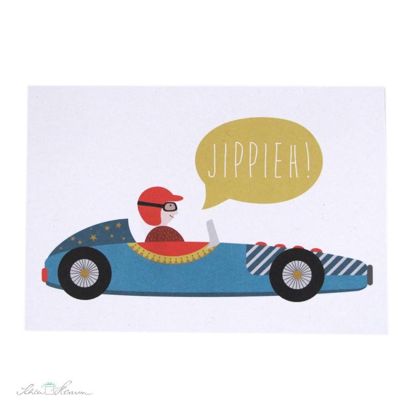 """Postkarte """"Jippieh"""", Rennauto"""