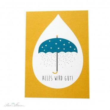 """Klappkarte """"Alles wird gut"""", Regenschirm"""