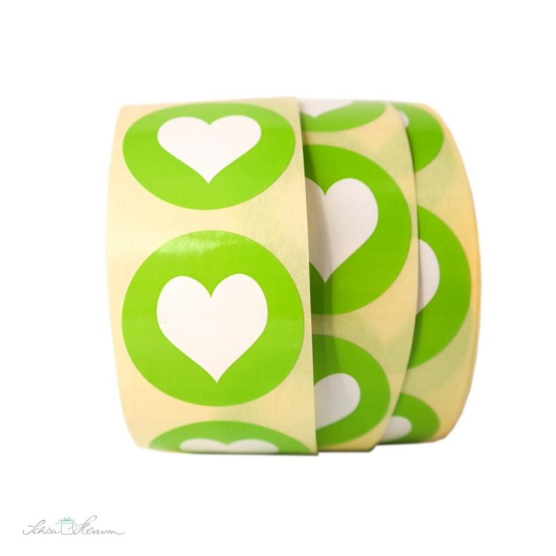 Aufkleber Herz / Apfelgrün
