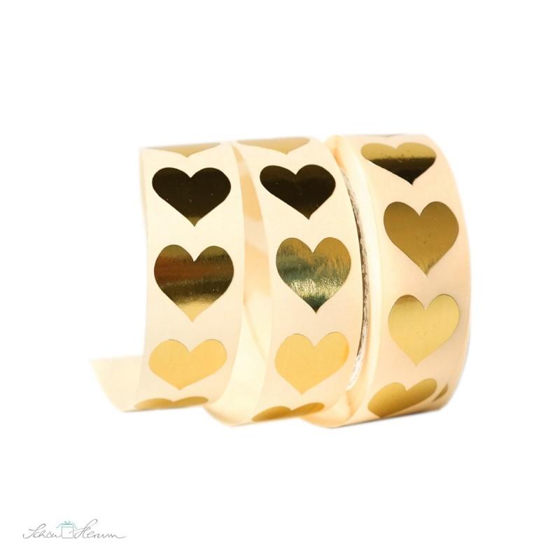Aufkleber kleines Herz / gold / 20 Stück