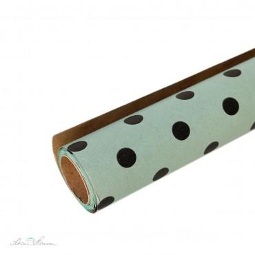 Geschenkpapier Mintgrün, schwarze Punkte / 5m Rolle / doppelseitig
