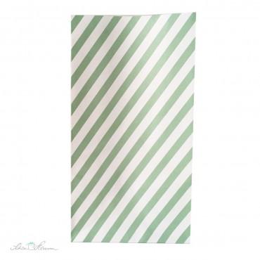Papiertüte mit Blockboden, gestreift, mintgrün