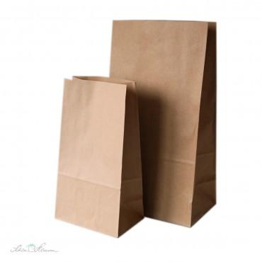Geschenktüte mit Blockboden, Kraftpapier, 13 x 9 x 25cm
