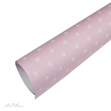 Geschenkpapier, weiße Sterne auf rosa, verträumt & romantisch , 50 x 70 cm