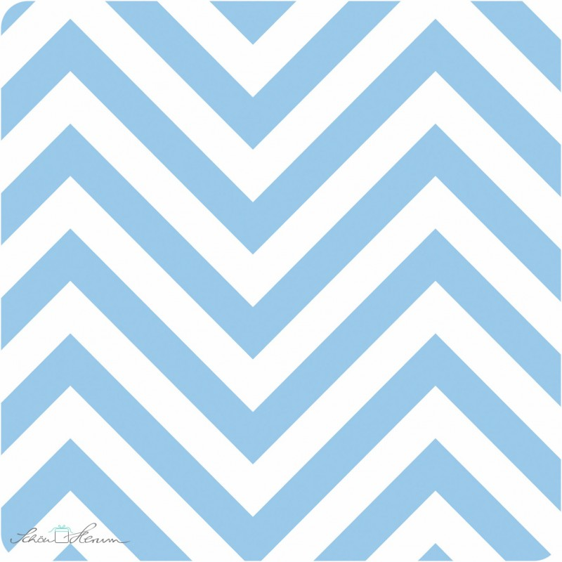 Geschenkpapier Babyblau / weißes Zickzack