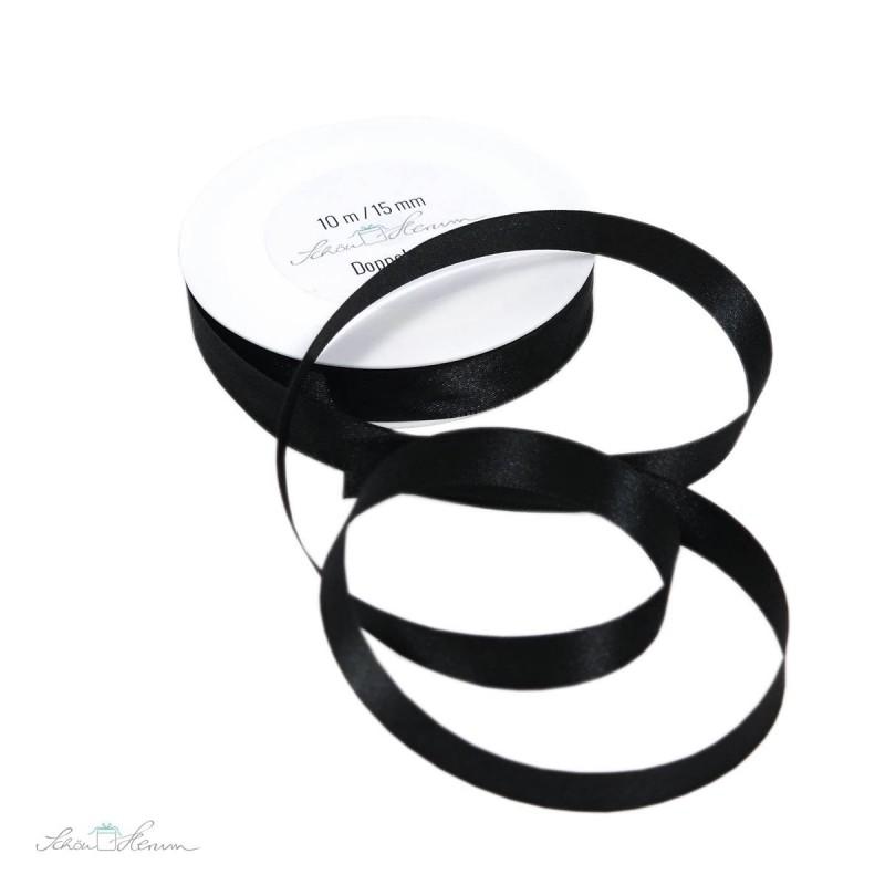 Geschenkband Satin, schwarz, 1.5 cm breit