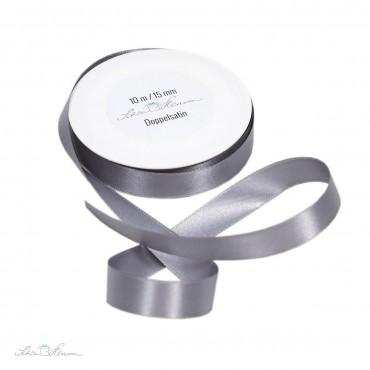 Geschenkband Satin / silbergrau / 1.5 cm breit