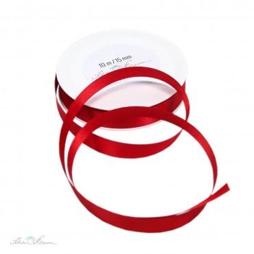 Geschenkband Satin, rot, 1.5 cm breit