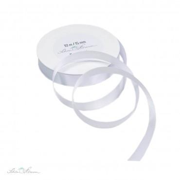 Geschenkband Satin / weiß / 1.5 cm breit