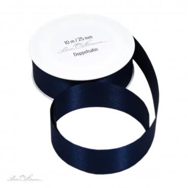 Geschenkband Satin / dunkelblau / 2.5 cm breit / 10 m