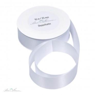 Geschenkband Satin / weiß / 2.5 cm breit / 10 m
