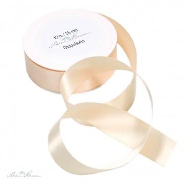 Geschenkband Satin / creme / 2.5 cm breit / 10 m