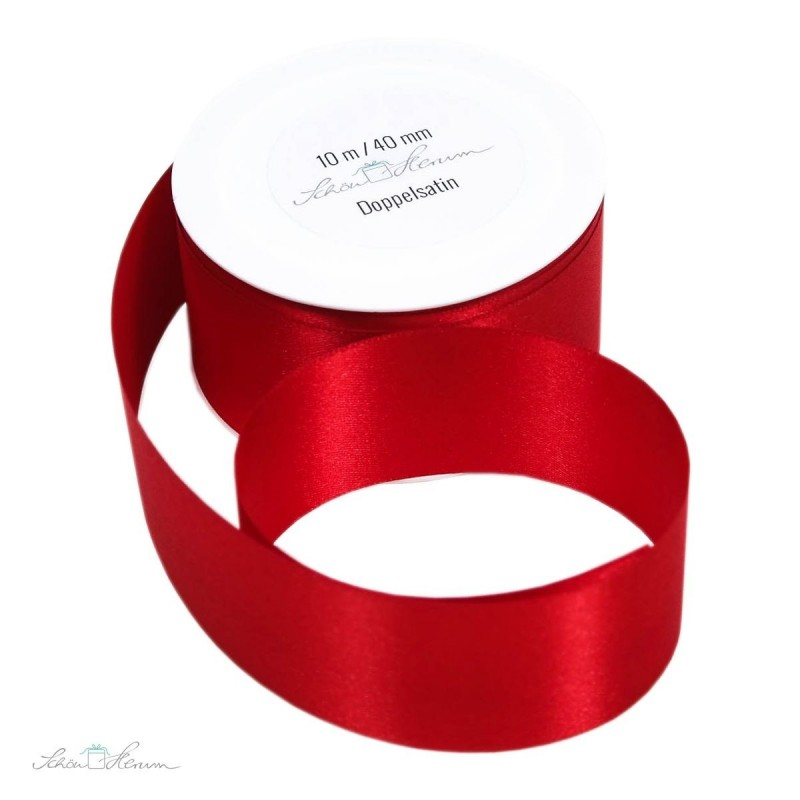 Geschenkband Satin / rot / 4 cm breit