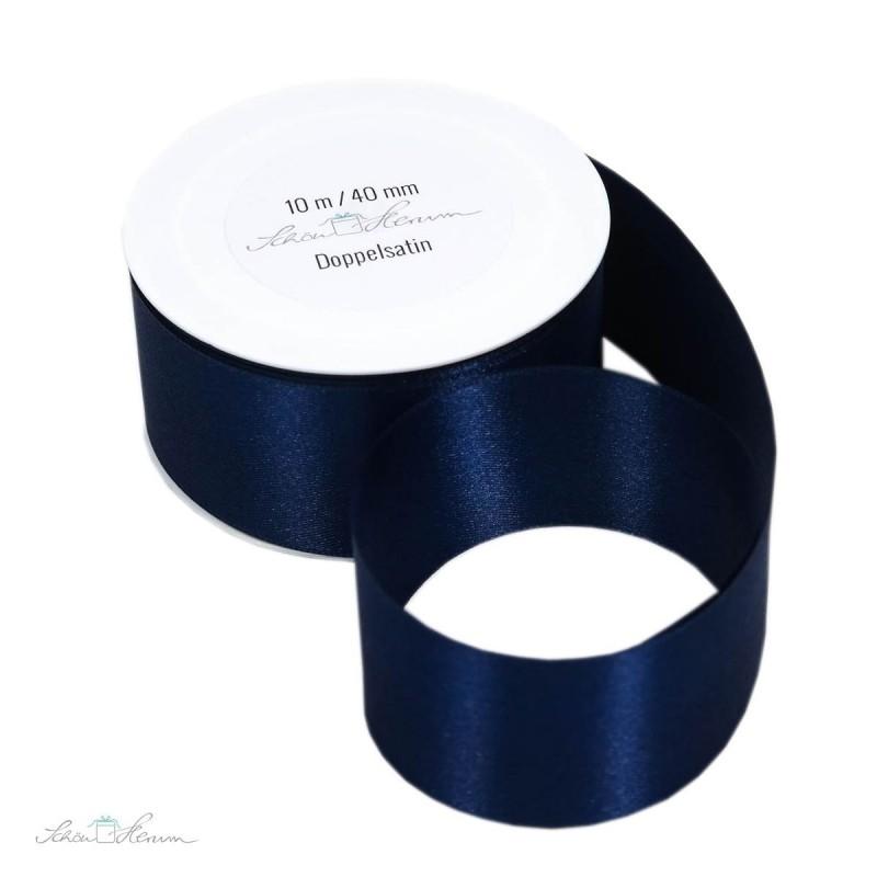 Geschenkband Satin / dunkelblau / 4 cm breit