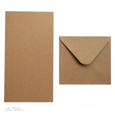 Kraftpapier Karte und Umschlag, quadratisch