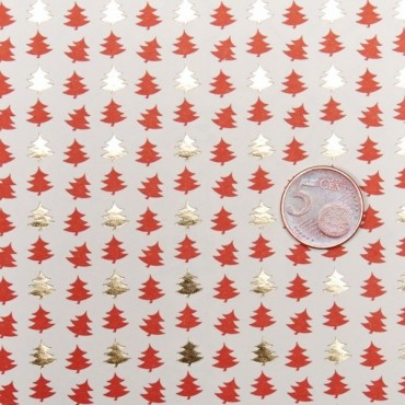 Geschenkpapier, Letterpress, Tannenbäume, rot-gold, 50 x 70 cm