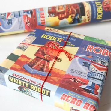 Geschenkpapier Roboter, retro, bunt, 50 x 70 cm