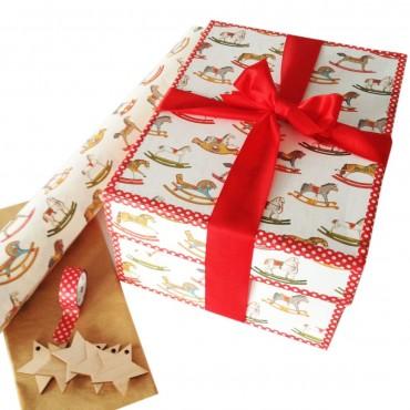 Geschenkpapier Schaukelpferd, bunt, 50 x 70 cm