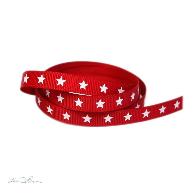 Ripsband, rot, weiße Sterne, 9 mm breit, 2 m