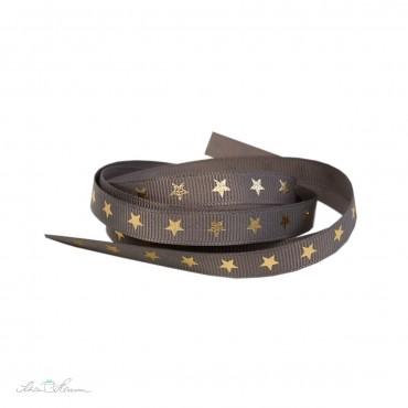 Ripsband, grau-braun, goldene Sterne, 9 mm breit, 2 m