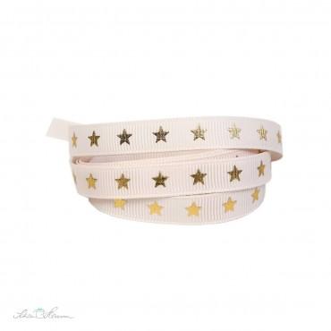 Ripsband, creme-rosa, goldene Sterne, 9 mm breit, 2 m